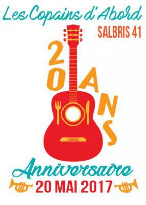 flyer recto les 20 ans du restaurant les Copains d'Abord à Salbris